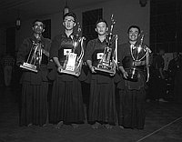 [Nisei Week Kendo tournament with groups from Japan, Los Angeles, California, August 1957]