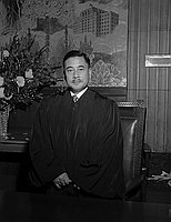 [Judge John Aiso at assembly room in State building, Los Angeles, California, September 20, 1957]