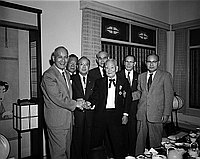 [Mr. Kino and Mr. Fujioka shaking hands at Kawafuku restaurant, Los Angeles, California, November 6, 1957]