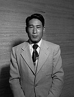 [Saikonko, ping pong champion from North Korea, half-portrait, July 7, 1950]