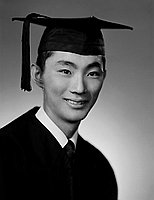 [Robert Kato in cap and gown, head and shoulder portrait, Los Angeles, California, January 19, 1955]