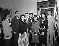 [Ephebian award recipients at Federal Court building, California, Los Angeles, January 20, 1955]