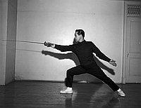 [Torao Mori fencing, California, March 5, 1955]