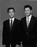 [Allen Masaharu and Harvard Horiuchi of Roosevelt High School, California Boys State delegates, three-quarter portrait, Los Angeles, California, April 18, 1955]