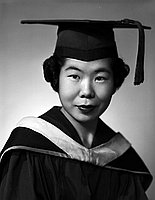 [Teruko Kido in graduation cap, gown and hood, head and shoulder portrait, Los Angeles, California, May 28, 1955]