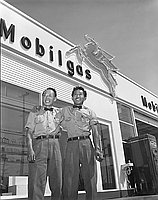 [Bill and Tosh's Mobil Gas station, California, May 1955]