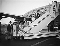[Young Buddhist Association departing for Hawaii Territorial Young Buddhist League Conference at Los Angeles International Airport, Los Angeles, California, August 12, 1955]