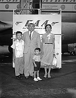 [Consul General of Japan, Shigeru Nakamura and family at Airport, California, August 12, 1955]