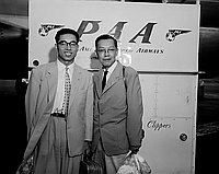 [Mr. Suzuki and Mr. Nagata in front of Pan American Airways airplane at airport, Los Angeles, California, August 12, 1955]