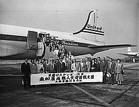 [Southern California Hiroshima Kenjinkai kankodan at airport, Los Angeles, California, August 30, 1955]