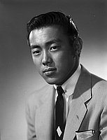 [Ken Murakami, KWKW disc jockey, head and shoulder portrait, Los Angeles, California, October 13, 1955]