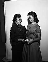 [Mrs. Ito presents Stella Nakadate with a card, California, September 7, 1955]