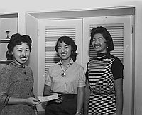 [Chi Alpha Delta Alumnae scholarship award presentation to Joy Oshiki at Grace Murakami's home, California, October 14, 1955]