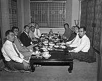 [Mr. Tameo Hara, vice-president of Tokyo Mainichi, at Kawafuku restaurant, Los Angeles, California,October 20, 1955]