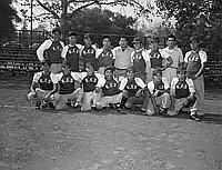 [Rose Frozen Shrimp baseball team, 1955 NAU AM Minor Baseball League champions, at Griffith Park, Los Angeles, California, November 6, 1955]