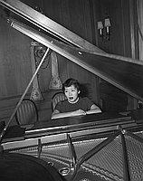 [Miss Maria Miyamoto of San Francisco at grand piano, California, November 23, 1955]
