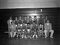 [Eastside Major champions Hound Dogs-1 basketball team, portrait, Los Angeles, California, December 17, 1955]