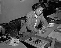 [Mrs. Dorothy Sakabe, greeting card artist, Los Angeles, California, December 1955]