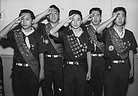 [Boy Scouts of Troop 379 receiving Eagle Scouts at Koyasan Buddhist Temple, Los Angeles, California, January 4, 1958]