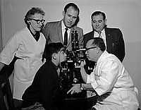 [All Nations Clinic receiving new eye exam equipment from the City Terminal Lions Club of Los Angeles, Los Angeles, California, January 10, 1958]