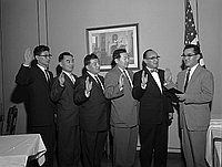 [Installation of new officers of JACL Los Angeles Chapters at Park Manor, Los Angeles, California, January, 25, 1958]