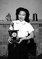 [Ayako Okita receiving Southern California Japanese Women's Society award, Los Angeles, California, March 15, 1958]