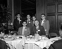 [Alpha Iota Pi fraternity welcomes five Nisei delegates at Biltmore Hotel, Los Angeles, California, April 25, 1958]