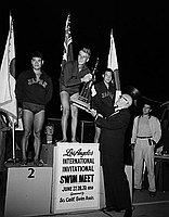 [American swim team at Kawafuku restaurant, Los Angeles, California, May 7, 1958]