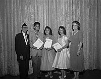 [American Legion Award presentation at Berendo Junior High School, Los Angeles, California, June 13, 1958]