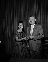 [Forshay Junior High School award and American Legion award presentation at Forshay Junior High School, Los Angeles, California, June 13, 1958]