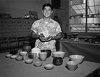 [Young man with first place bowl at Belmont High School ceramic exhibition, Los Angeles, California, June 17, 1958]