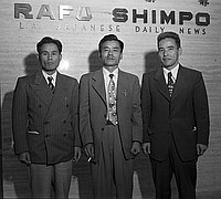 [Okinawa delegate in front of Rafu Shimpo, Los Angeles, California, September 25, 1950]