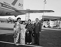 [Mr. Kunizo and Mrs. Emiko Matsuo from Japan at Los Angeles International Airport, Los Angeles, California, June 19, 1958]