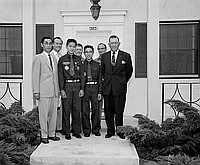 [Explorer Scouts James Hisatomi and Dale Kunitomi, God and Country award recipients, at Monroe Street Christian Church, Los Angeles, California, July 13, 1958]