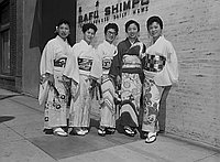 [Women lawyers from Japan in front of Rafu Shimpo -- Naniwa-bushi group in front of Rafu Shimpo, Los Angeles, California, August 1958]