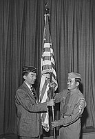 [Commodore Perry Post 525 of the American Legion presenting American flag to Boy Scout troop 98 at Commonwealth Avenue School, Los Angeles, California, October 10, 1958]