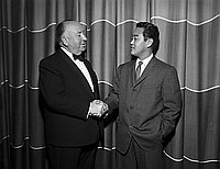 "[Alfred Hitchcock and Hiroyuki ""Tom"" Kamifuji at 14th annual Western Advertising awards dinner-dance at Statler Hilton, Los Angeles, California, February 14, 1959]"