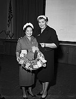 [Mrs. Henry Maruyama awarded honorary lifetime membership at Hobart Boulevard Elementary School PTA, Los Angeles, California, April 14, 1959]
