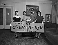 [PSWDC JACL convention publicity at Southern California JACL Regional office in Miyako Hotel, Los Angeles, California, April 27, 1959]