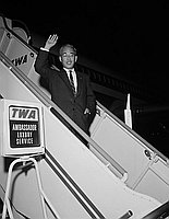 [Mr. Takamura, general manager of Shochiku company, at Los Angeles International Airport, Los Angeles, California, July 17, 1959]