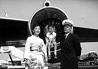 [Shinto ceremony and Kow Kaneko fashion show at inaugural flight of Pan American Airline jet at Los Angeles International Airport, Los Angeles, California, September 8, 1959]