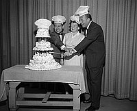 [George Izumi of Grace Pastries on Art Linkletter show to celebrate National Retail Bakers Week, California, April 22, 1960]