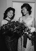 [East Los Angeles JACL presentation of Helen Shizue Amemiya, Nisei Week queen candidate, at Emerald Ball at Old Dixie, Los Angeles, California, May 28, 1960]