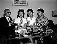 [Daughters of Japanese Prime Minister Hayato Ikeda at Kazumo Matsumoto's home, California, July 1960]