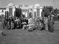 [Memorial services for Komai and Fujii families at Evergreen cemetery, Los Angeles, California, October 24, 1960]