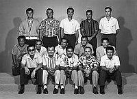 [Hawaii businessmen's softball team, portrait, Los Angeles, California, October 7, 1960]