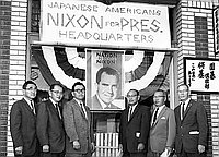 "[Nisei Republicans at ""Nixon for president"" Little Tokyo headquarters, Los Angeles, California, October 1960]"
