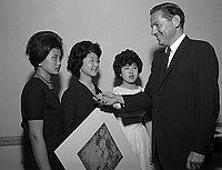 [Gold key award winners at the 15th annual Scholastic Art Awards at Statler-Hilton, Los Angeles, California, February  25, 1961]