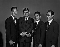[Boys State delegates, with Harry Yamamoto of American Legion Commodore Perry Post, Los Angeles, California, April 5, 1961]
