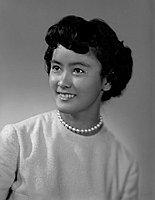 [Irene Yonashiro, Ephebian award recipient at Roosevelt High School, head and shoulder portrait, Los Angeles, California, June 4, 1961]